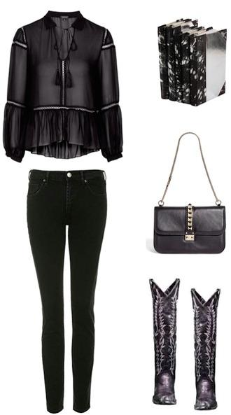 krystal schlegel blogger all black everything black jeans black blouse cowboy boots