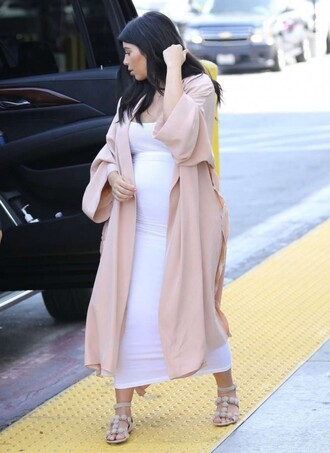 sandals bodycon dress kim kardashian white dress maternity dress duster coat nude