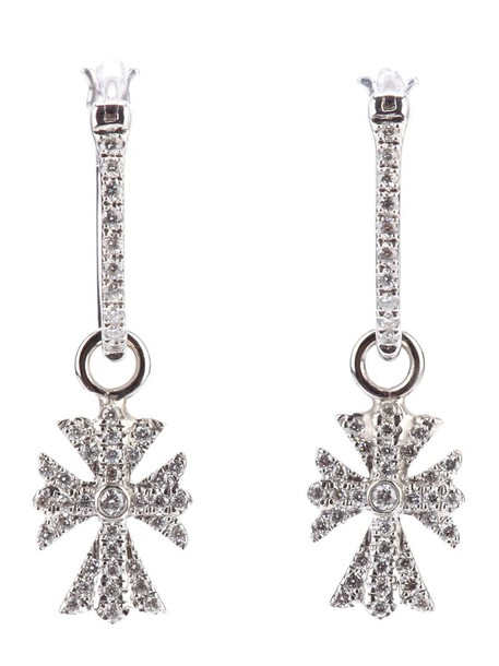 elise dray cross women earrings gold grey metallic jewels