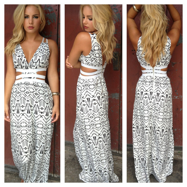 Aztec Print Open Side Maxi Dress                           | Dainty Hooligan Boutique