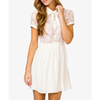 dress highcollareddress classy shortdress lacedress shortsleeve chic white dress