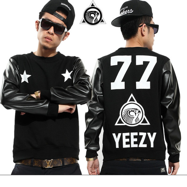 jacket yeezy kanye west 77 stars black leather crewneck