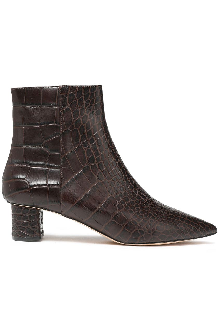 Nanushka Woman Croc-effect Leather Ankle Boots Dark Brown Size 40