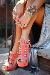 shoes,high heels,coral,black,spiked shoes,pink sandals,spikes,summerlike,hot,jewelry,ring,bracelets,studs,heels,pink,ball shoes,open toes,beautiful,studded shoes,cute high heels,studded,orange shoes,sandals,booties,rivets,maxi skirt,maxi dress,grey dress,sandal heels,pink heels,spiked heels,skirt,studded heels