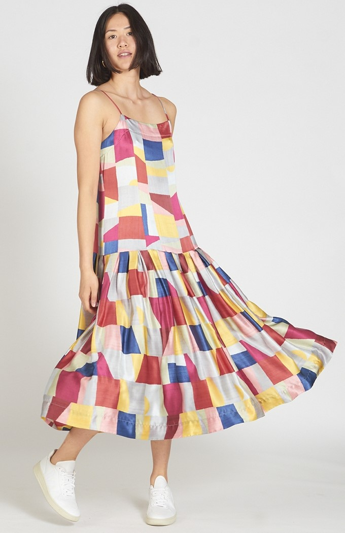 Fold Drop Dress - Colourblock