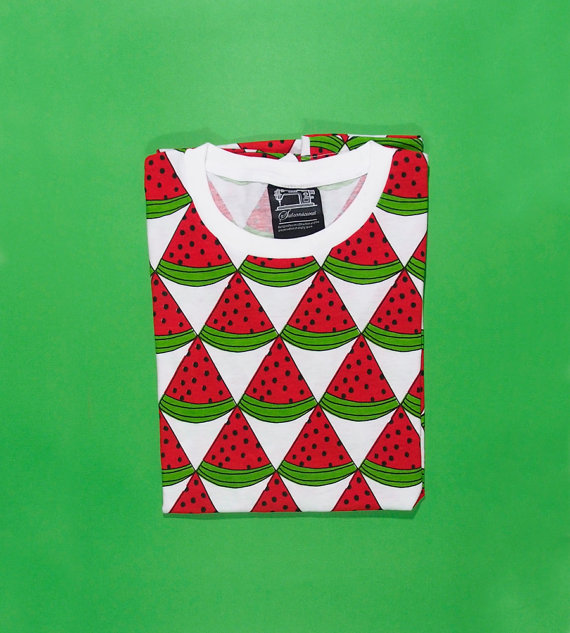 Watermelon screenprint pattern round neck tshirt par multiplestore