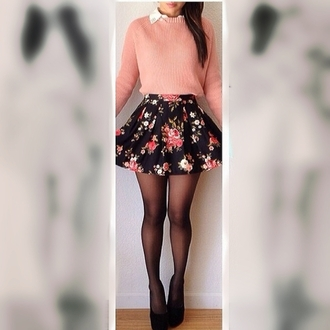 dress top jumper cute pink coral floral skirt floral skater skirt sweater cropped jumper shirt