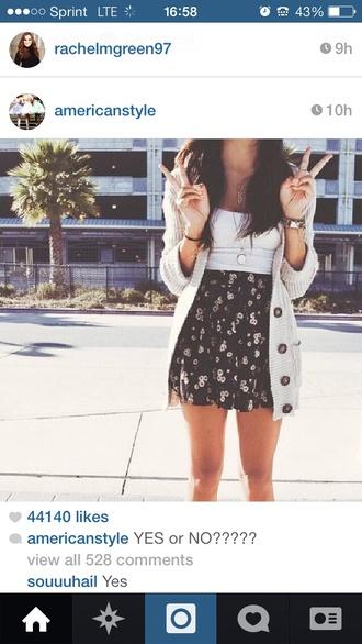 floral skirt sweater cream instagram summer outfits cute sunflower girly boho
