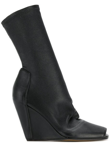 Rick Owens wedge booties open women booties leather black shoes