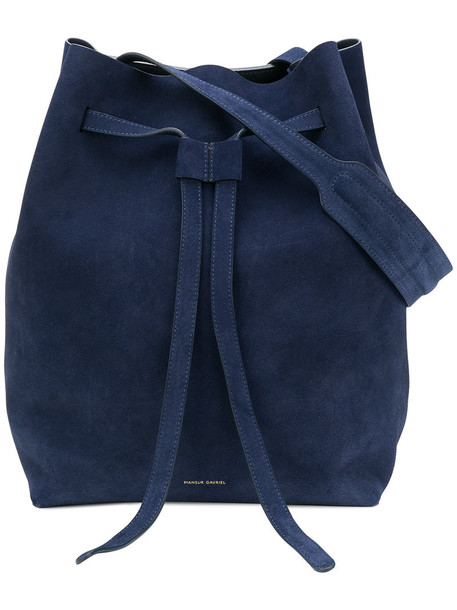 women blue suede bag