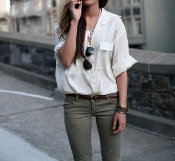 blouse rayban khaki white blouse jeans white top shirt kahki green oversized rolled sleeves skinny jeans army green sunglasses jewel