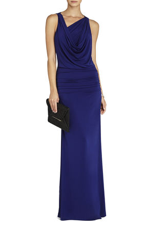 Nicole Draped-Neck Floor Length Dress | BCBG