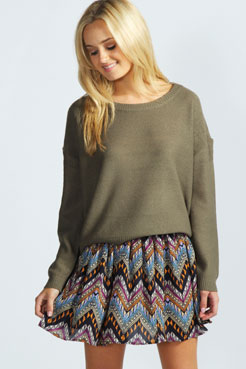 Abbey Zig Zag Flippy Skirt at boohoo.com