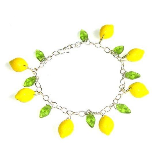 Lemon Grove Bracelet  bright yellow glass lemon by cuteandfun