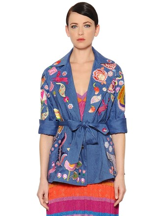 jacket cool embroidered wool blue