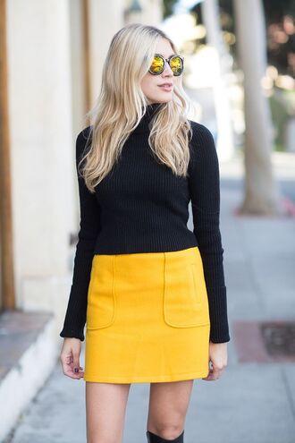 sunglasses yellow skirt blogger round sunglasses black turtleneck top