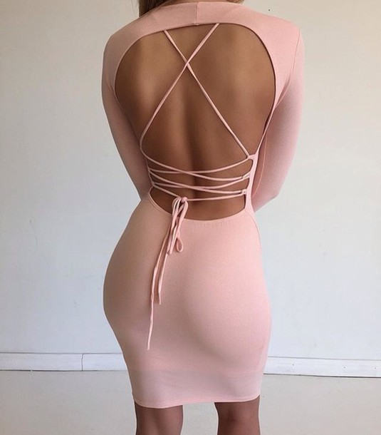 dress pink dress back lace dresses back lace dress dress cute tied up backless dress strappy dress pink lace criss cross back bodycon dress strip back