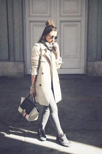 lovely pepa blogger coat jeans bag sunglasses jewels t-shirt trench coat