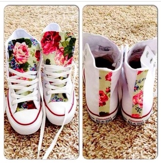 shoes converse high tops roses