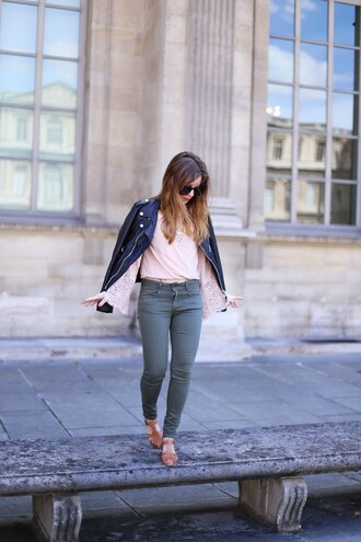 elodie in paris blogger jacket top jeans shoes sunglasses