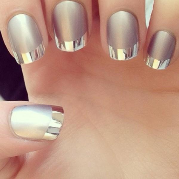 nail polish silver nails bag shiny matte french manicure