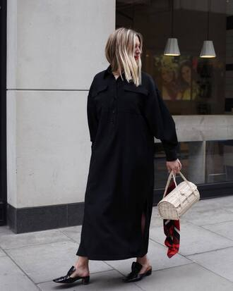shoes black dress dress long dress bag handbag mules black mules