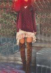 dress,sweater,shoes,bohemien,native american,beautiful red dress,laces,boots,wow,brown combat boots,red dress,white dress,skirt,chunky sweater,floral dress,knee high boots,fall outfits,fall sweater,burgundy,cute,burgundy sweater,slip,lace slip,lace dress,boho,shirt