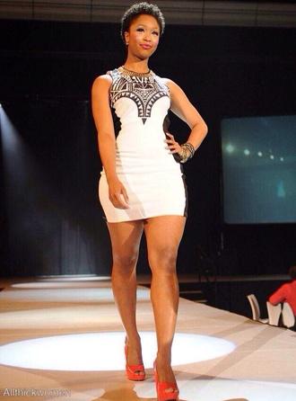 dress cute halter aztec sleeveless knee length mini black and white curvy dress