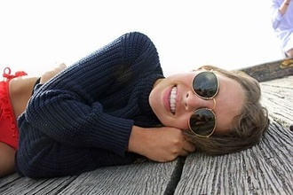 sweater winter sweater blue navy jumper woollen knit navy knit knitted sweater red bikini bikini bottoms sunglasses glasses summer beach oversized sweater blue knitted sweater