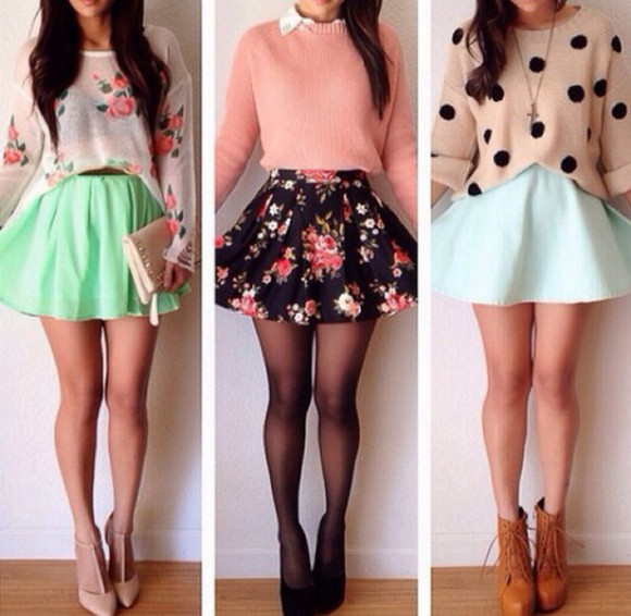cute skater skirt cardigan sweater cute skirts adorable outfit flowers dot