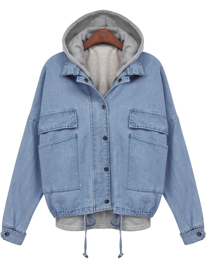 Blue Hooded Long Sleeve Drawstring Denim Outerwear - Sheinside.com