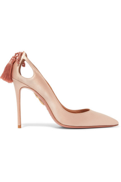 Aquazzura forever pumps satin blush shoes
