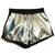 Metallic Look High Waist Silver Shorts