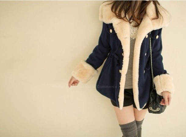 coat navy fluffy coat