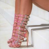 shoes,sparkle,rhinestones,pink strap heels,buckle heels,pink sparkly heels,rhinestone heels,pink rhinestones