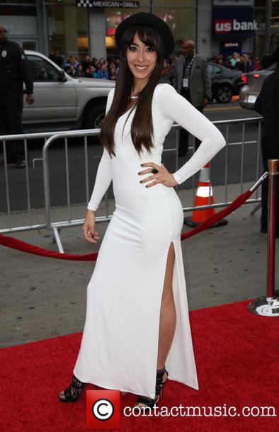 dress oona chaplin white dress long sleeve dress slit dress