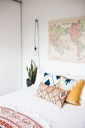 home accessory,boho decor,college,pillow,boho pillow,map print,wall decor,poster,blanket,bedroom,bedding,aztec