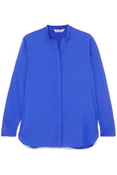 shirt blue silk top