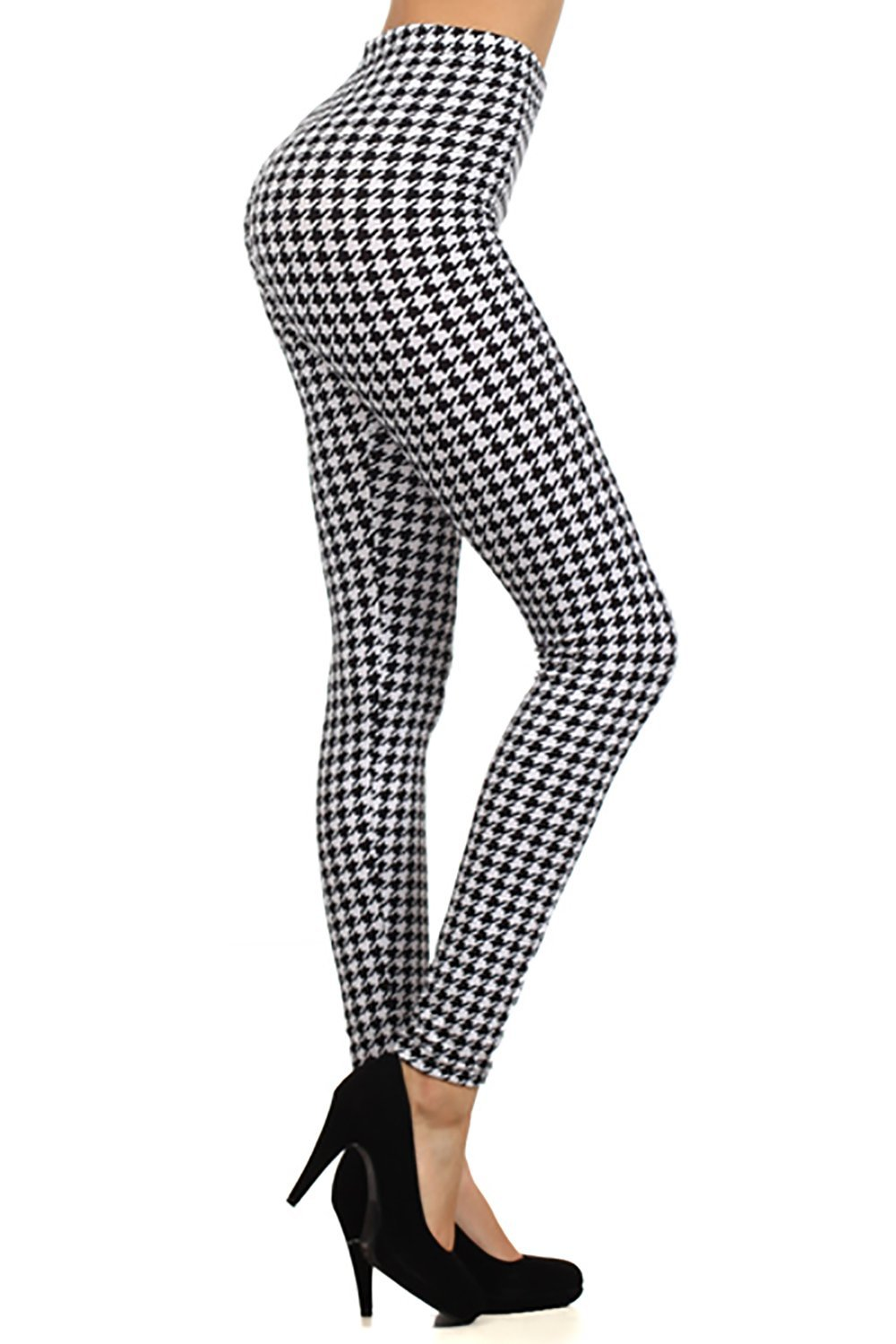 Houndstooth pattern graphic print high waist leggings pants tights (black) at amazon women's clothing store: