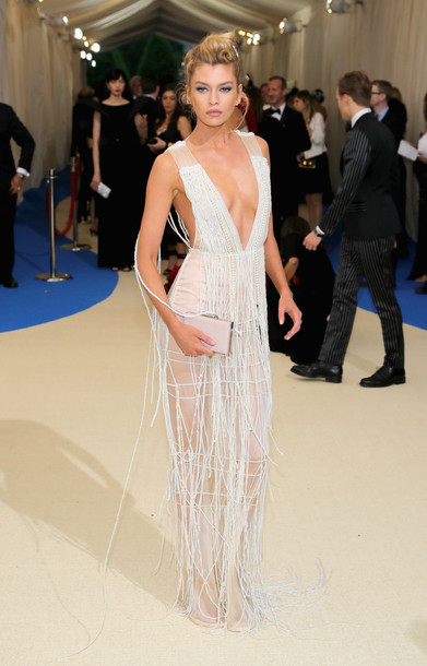 dress plunge dress stella maxwell model beaded white white dress met gala met gala 2017 wedding dress