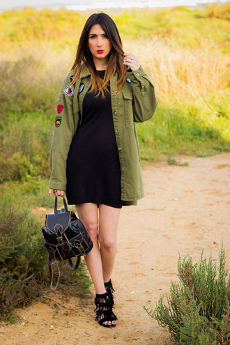 blogger shoes and basics skirt shoes bag jewels coat green jacket khaki bomber jacket bomber jacket black dress mini dress backpack black backpack black heels fringes mini backpack