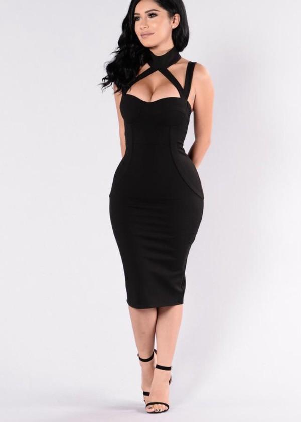 dress, black dress, black, curvy, baddies, tumblr, halter ...