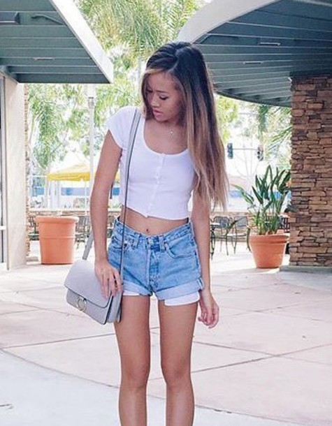 Shorts: blue, cute, summer, white, buttons, blue jeans, short ...