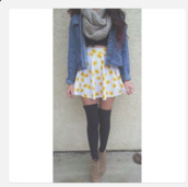 shirt,skater skirt,flowers,yellow,denim jacket,white,jacket,scarf,brown,knitted scarf,tights,boots,skirt,underwear,shoes