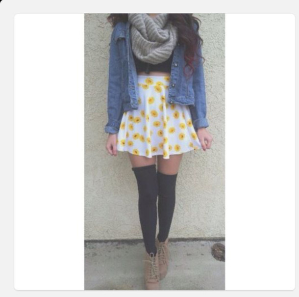 shirt skater skirt flowers yellow denim jacket white jacket scarf brown knitted scarf tights boots skirt underwear shoes