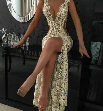 dress gold and lace gold sequins gold dress long prom dress gold prom dress wedding dress gown sexy prom dress lace dress plunge v neck
