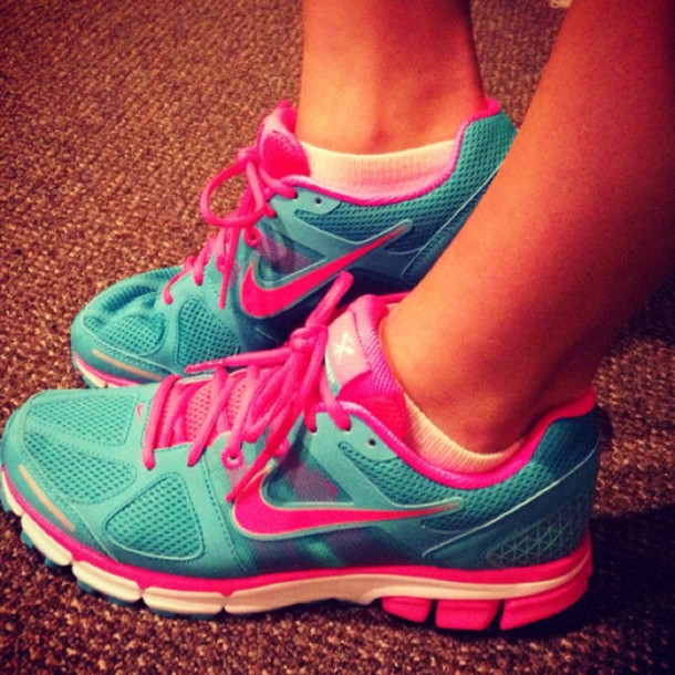 Shoes: neon, running, nike running shoes, nike, blue, pink ...