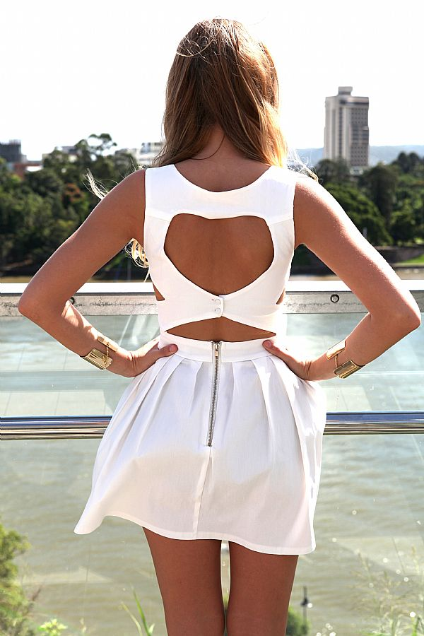 White Mini Dress - White Heart Cutout Dress with | UsTrendy