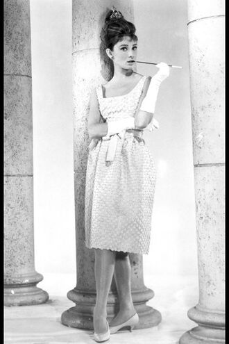 dress audrey hepburn actress white dress midi dress gloves white gloves long gloves hairstyles shoes white shoes