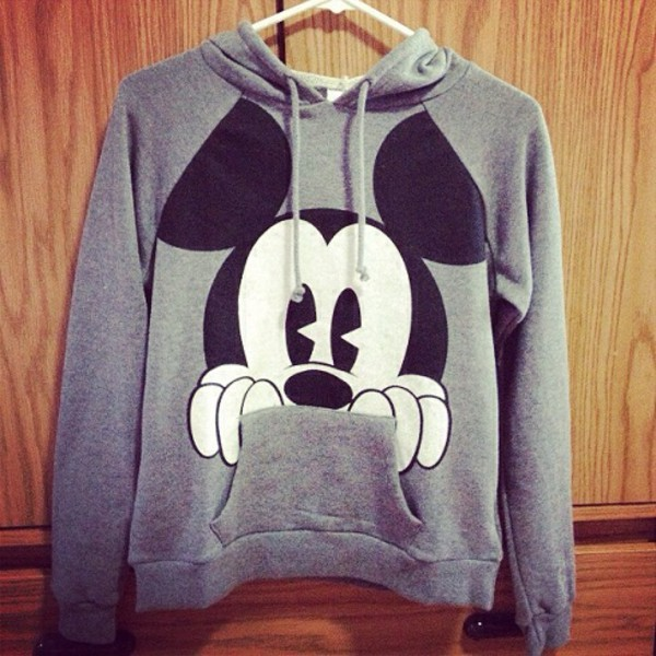 mickey mouse grey hoodie